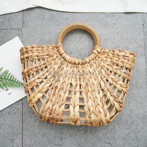 Chic style half round shape hollow out straw bag with round handle