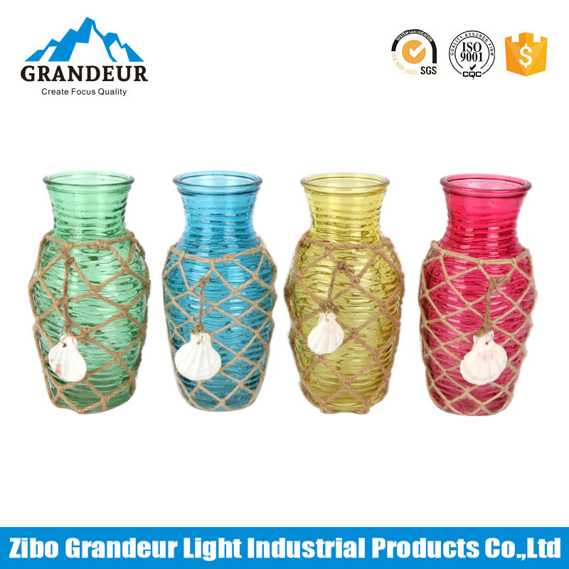 Handmade Small Colored Hemp Rope Weaving Glass Vases With Shell Decoration