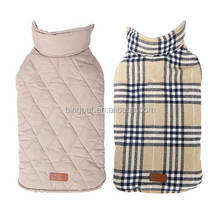 Reversible British Style Grid Water Repellent Quilted Winter Dog Jacket Clothes for Pet