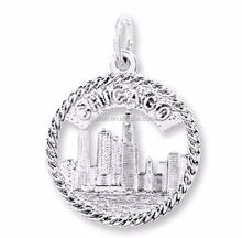 Factory Directly Silver Plated American City Chicago With Texture Round Charms