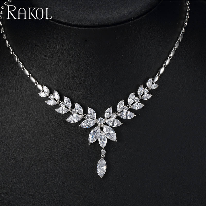 RAKOL Silver Long Drop Jewelry Leaf Wheat Shape Crystal Necklace Earring Set For Women S091