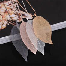 High Quality Fashion Really Natural Real Leaves Leaf Pendant Long Sweater Snake Chain Necklace For Women Boho Wholesale Jewelry