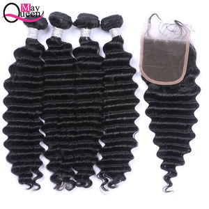 May Queen virgin brazilian hair unprocessed brazilian deep wave hair with closure raw unprocessed virgin hair vendors bundle