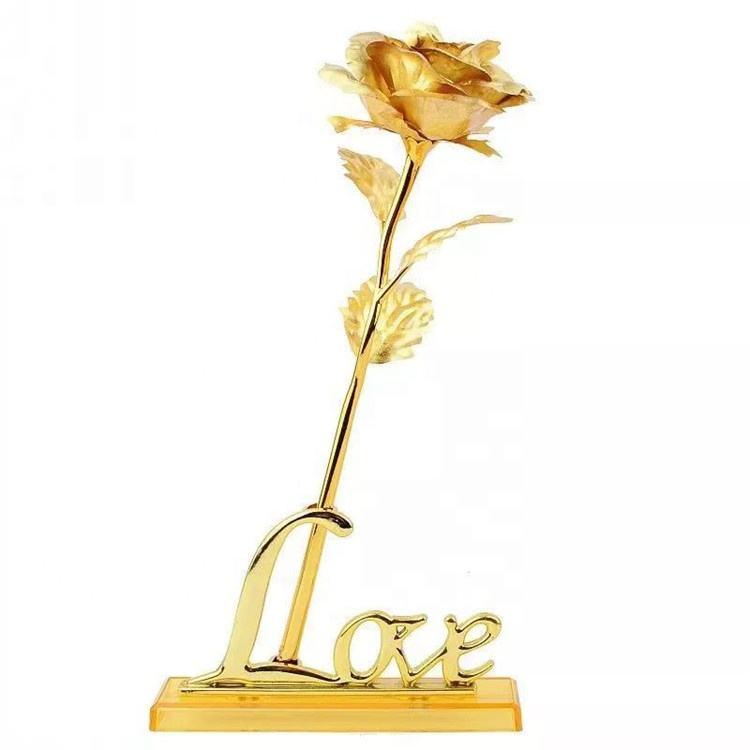 24k Gold Foil Collectible Rose Flower Unique Gift for Girlfriend Mom Wife Artificial Flower for Womens