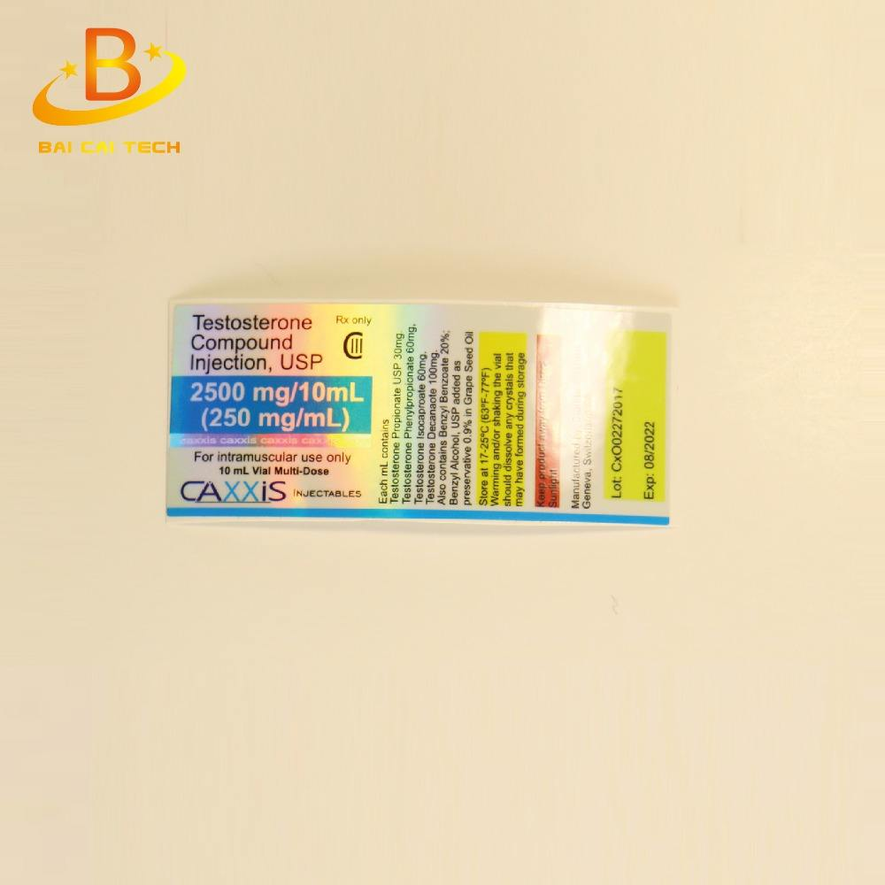 Waterproof PET/ PVC material free design custom logo and brand name anti-fake 1ml 2ml 5ml 7ml hologram vial label printed