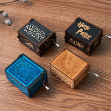 New arrival custom mini hand crank Laser Engraved hand crank wooden music box