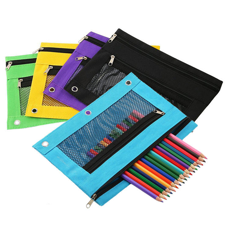 3-Ring Binder Pencil Pouch Stationery Bags Zipper Pencil Bag with PVC Mesh Window