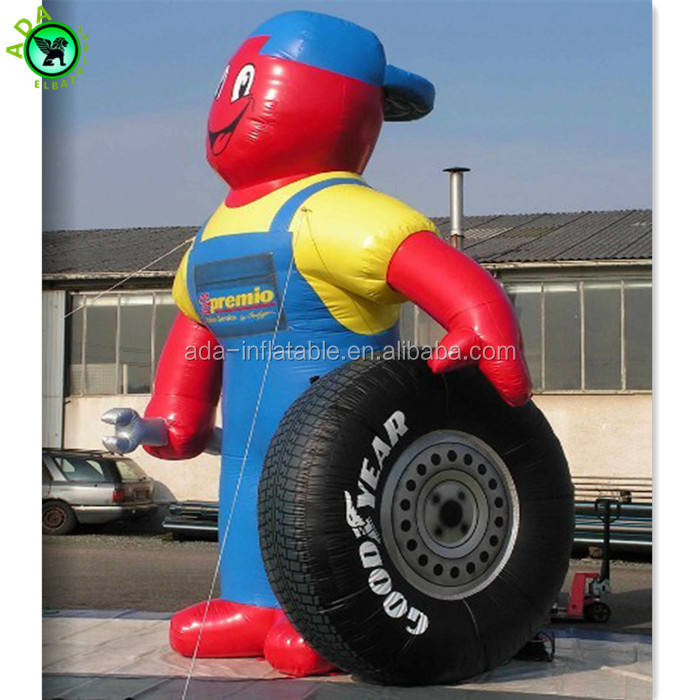 Tire company advertising promotion decoration giant inflatable man with tire ST660