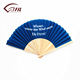 Top quality business ideas colored folding fabric sandalwood fan with custom logo abanicos de mano lace silk wooden hand fan