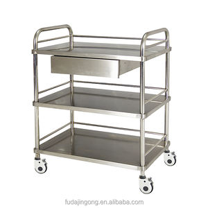 Cheap hospital furniture 3-tier stainless steel medical trolley
