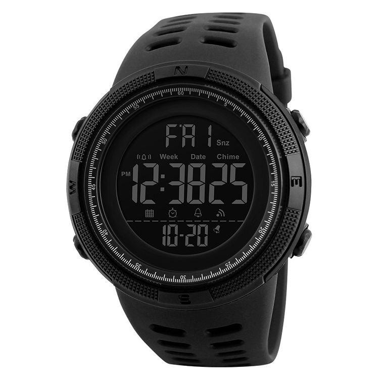 Skmei 1251 Eco-friendly simple fashion EL double Time waterproof 50 sport men wristwatches digital watch
