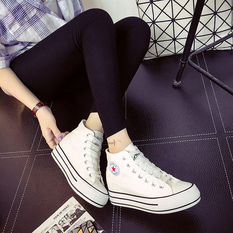 Custom Made lace up high top Women Canvas Shoes Wholesale factory price