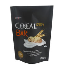 China Printing Cereal Bar Food Grade Aluminum Foil Packaging Bag With Resealable Ziplock For Cereal Granola Porridge