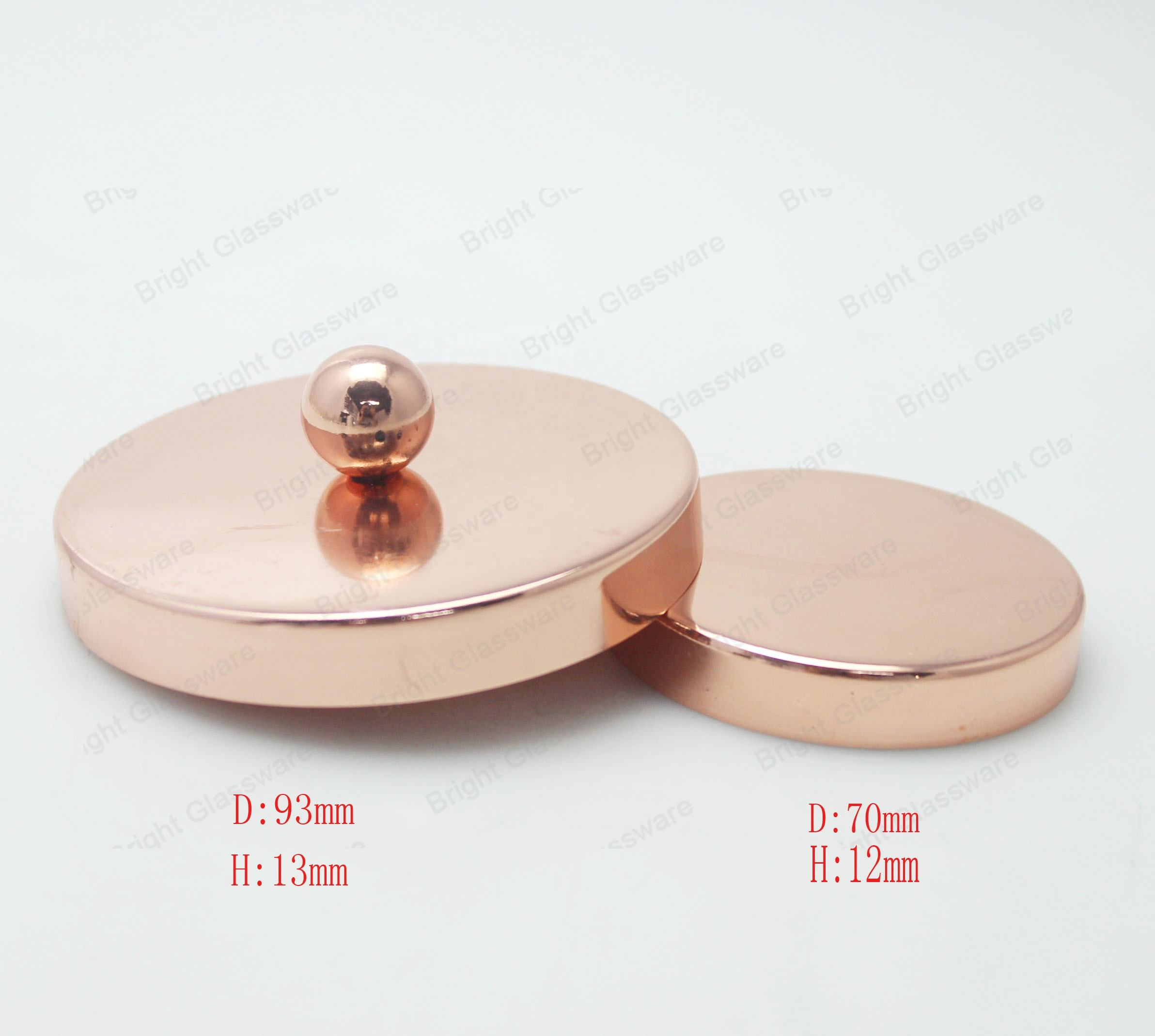 China Factory Rose gold plated metal lid for glass candle holder lid candle jar lid