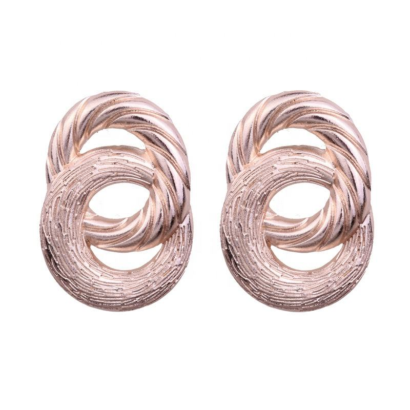 New gold jewelry women exaggerated textured metal circles geometric earrings designs