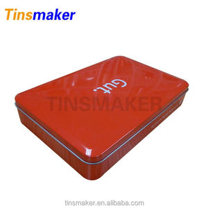 Wholesale custom red colored large storage retro empty cookie tins in China