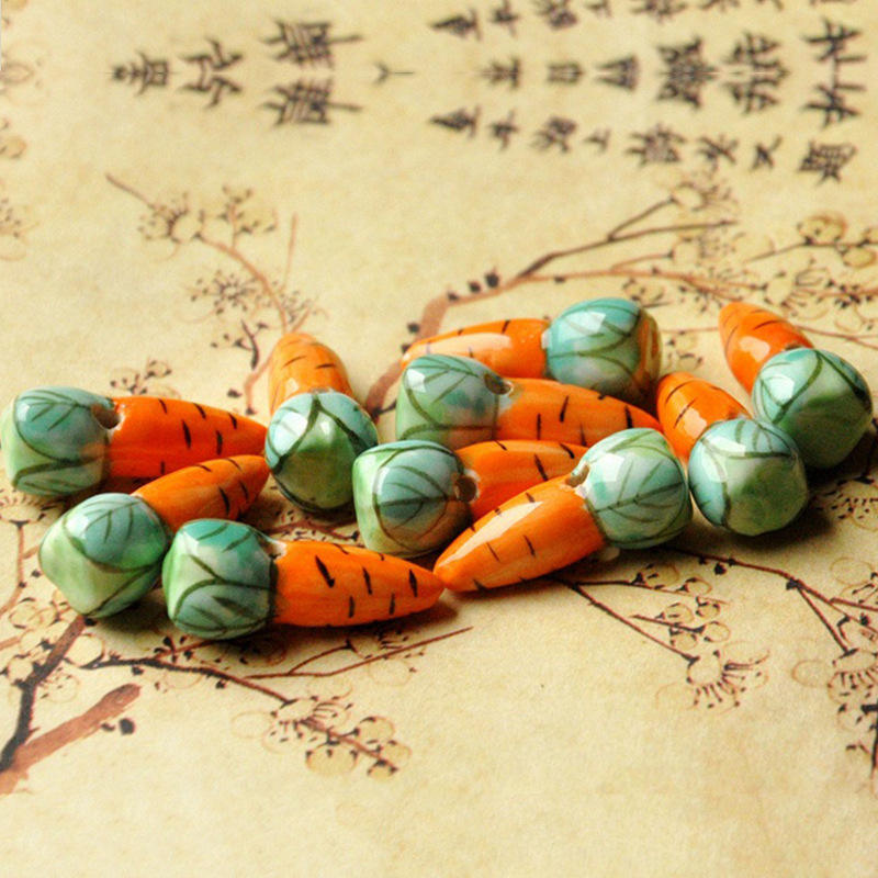 Carrot Shape Charms Ceramic Beads For Jewelry Making DIY Bracelet Material Jewelry Painted Porcelain Bead Diy Loose Bracelets