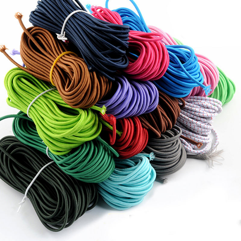 2.5mm 4mm 5mm 8mm 10mm Strong Stretch elastic bungee cord colorful round elastic shock rope rubber cord