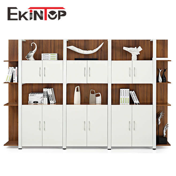 Ekintop glass bookstore bookcase metal stainless steel book shelves with glass doors model for living room sale
