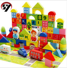 Factory direct children's building blocks 160pcs educational toys to learn city transport wooden building blocks