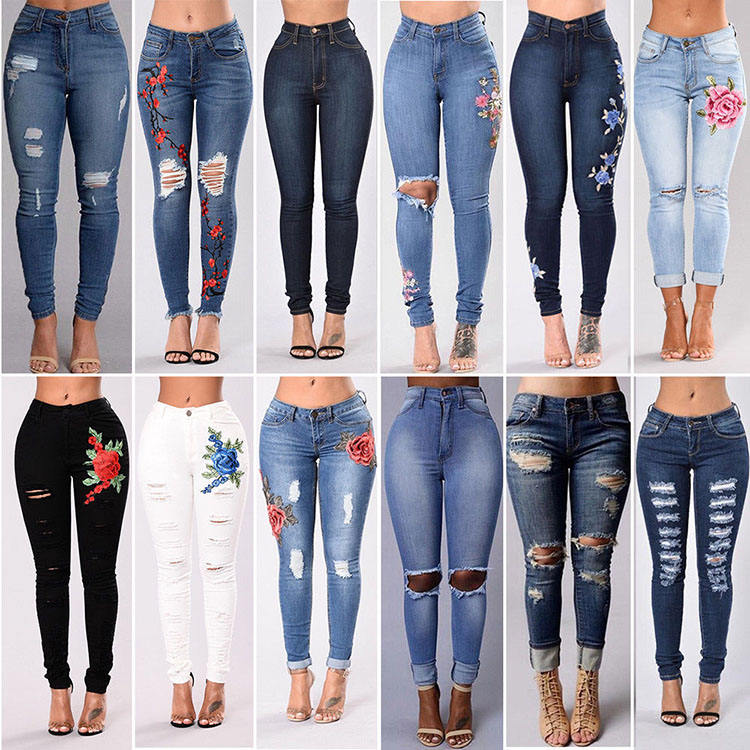 2017 Top Design Bulk Wholesale Women Ripped Latest Jeans Tops Girls