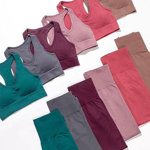 Wholesale full 12 colors Women Sports Gym Wear Tights And Crop Top 2 Pieces Seamless Women Yoga Set