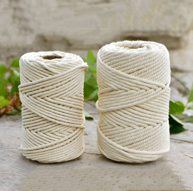 Wholesale wall decorative natural twisted cotton cord macrame cord 4mm