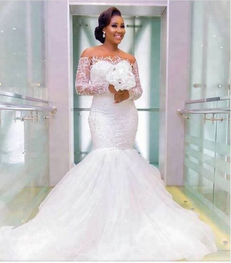 XN1814 2020 New African Mermaid Wedding Dress Luxury Lace Off the Shoulder Long Sleeves Customized Size Wedding Gown