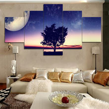 5 Pieces Fantasy  Landscape tree Canvas oil painting  Wall Art Shiny Starry Sky for Home Decor