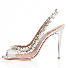 diamond crystal wedding shoes women dress pumps ladies sexy white bridal Shoes