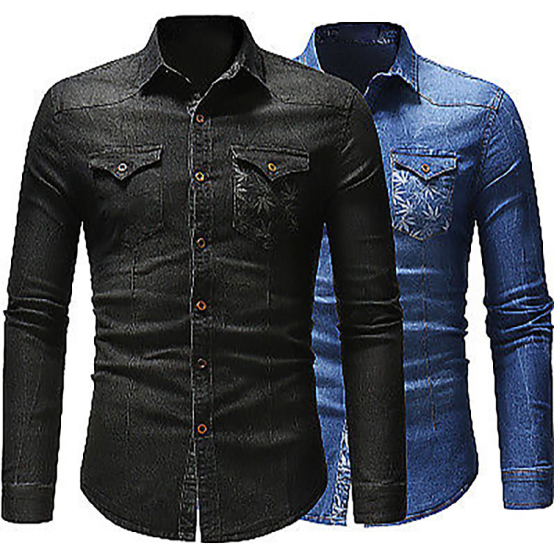Plus Size Men Casual long Sleeves Man jeans 100% Cotton Fashion Denim Shirt