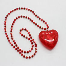 Valentine's day party Bead chain new necklace valentines flashing led red heart with feather pendant necklace