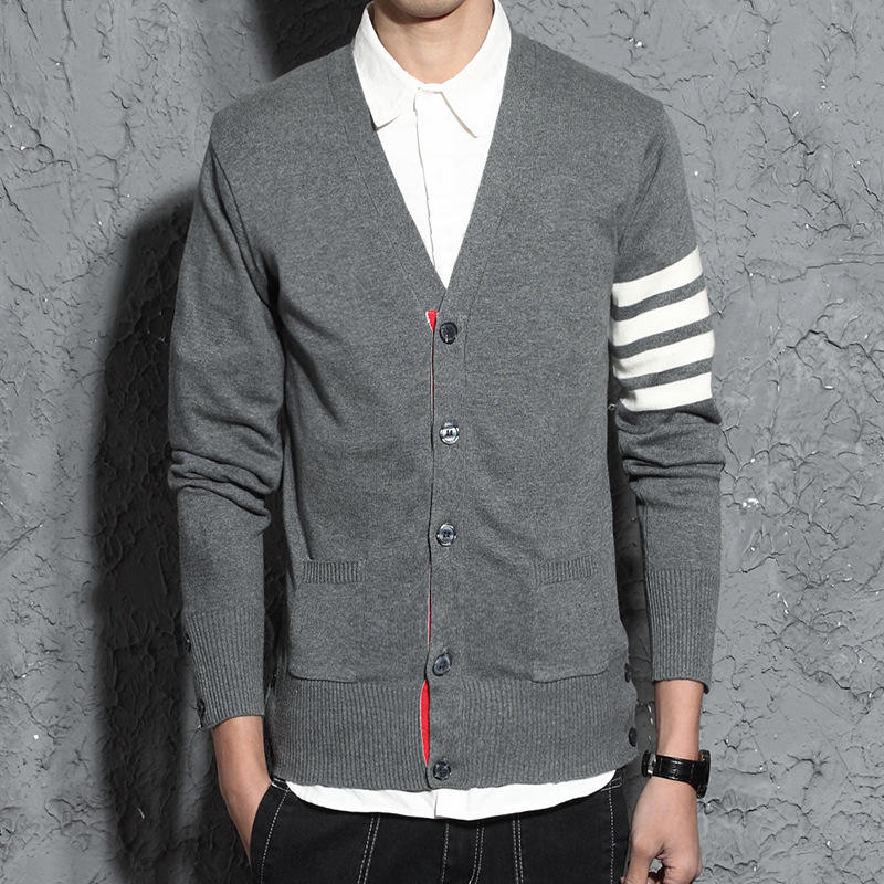 autumn fashion v-neck long sleeve stripe with button knitted cardigan for man