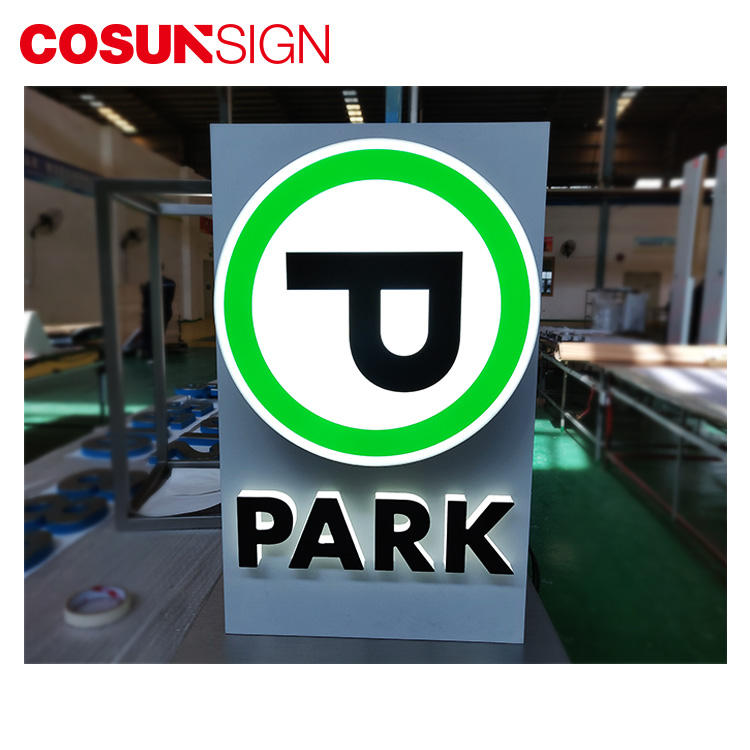 COSUN stainless steel irregular shape led double side parking lot light box