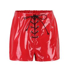 Z53499D Women's high waist PU leather pants autumn sexy shorts