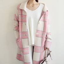 Ladies fashion korean style square printed pink lapel long cardigan single-breasted sweater