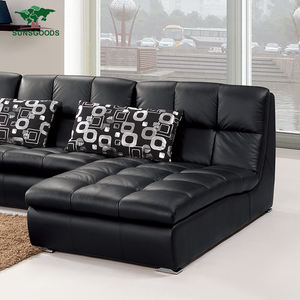 Wholesale Price Black Genuine Leather Couch Set,Black Leather Sofas For Sale