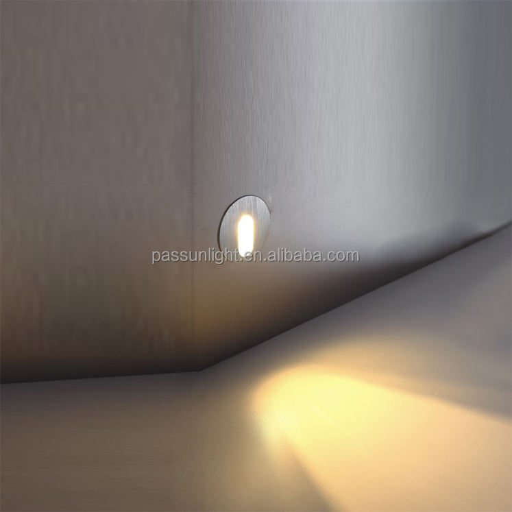 1W LED step light round LED step light for staircase lamp aluminium recessed indoor size 48mm