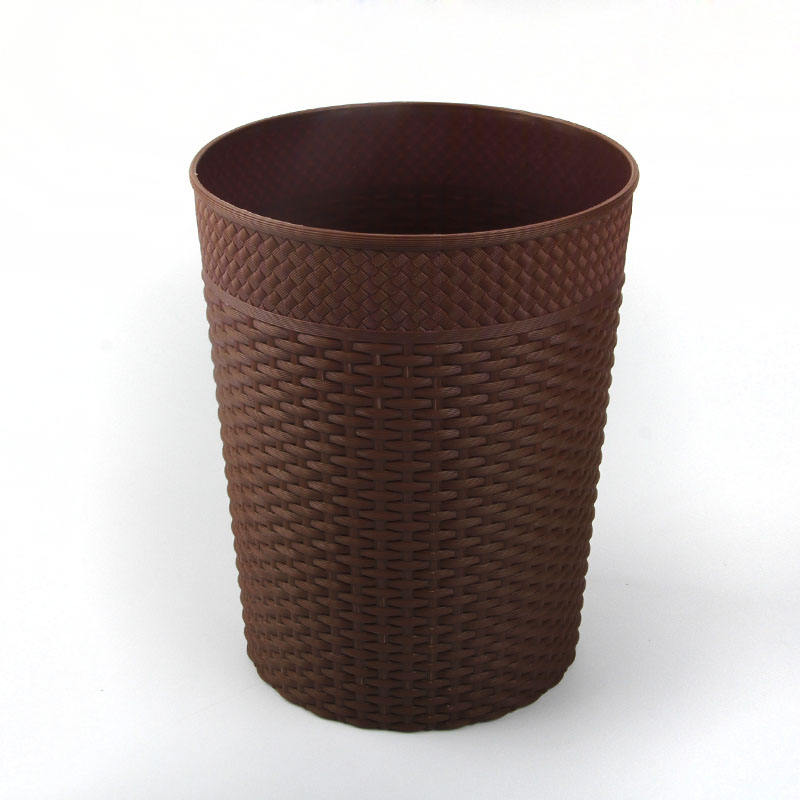 china suppliers household retro round plastic rattan trash can
