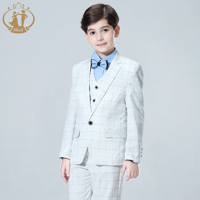 High Quality 3 Pieces Set Wedding Piano White Plaid Fashion Dress Costumes Party Clothes TR Fabric Kids Boy Suit