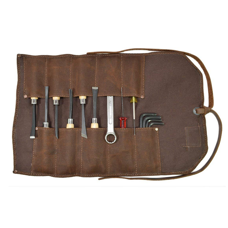 Hot Sale Waxed Canvas Roll Up Tool Bag Heavy Duty with Embossed Logo
