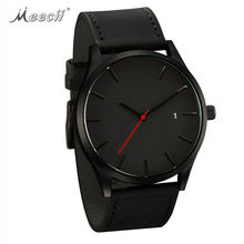 High End Big Dial Fashion Calendar Casual Quartz Watch For Men Matte Leather Belt Wrist Watch
