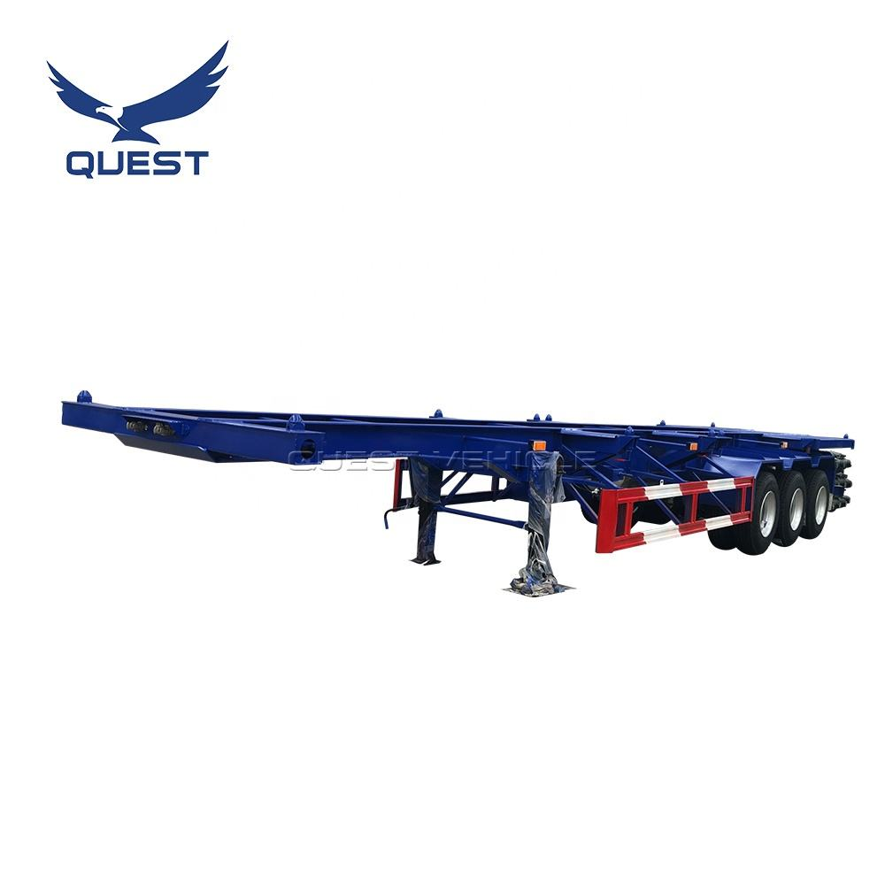 QUEST 40-50Tons Skeleton Container Semi Flatbed Chassis Truck Trailers 40ft Skeletal Semi Trailer