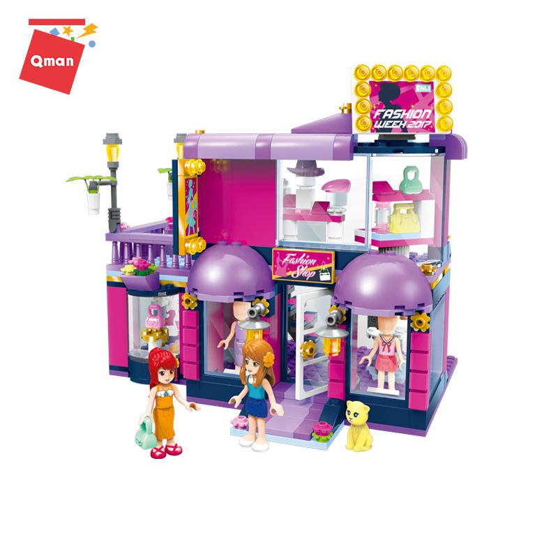 Qman nuevo estilo chica ropa de <span class=keywords><strong>moda</strong></span> <span class=keywords><strong>casa</strong></span> conjunto de bloques de construcción de plástico de juguete para niños
