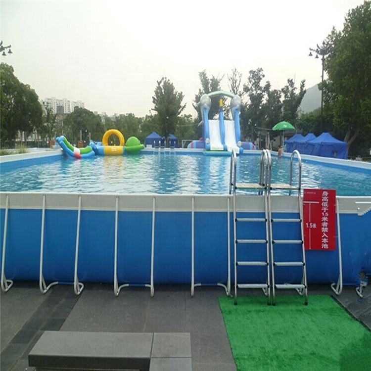 Fashion design pvc adult children indoor outdoor large slide inflatable metal frame mobile swimming pool for sale