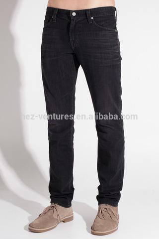 100% algodón Selvedge denim / Men ' s pantalones vaqueros rectos delgados