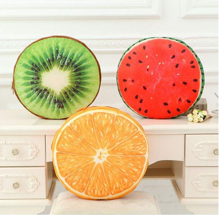 New Design Custom 3D Fruit Shape Printed High Quality Sponge Comfortable Cushion