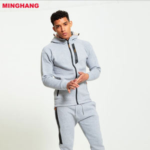OEM Custom Mens Tracksuit/Blank Grey Hoody Sweatsuit/Fashion Mens Zip Plain Tracksuit