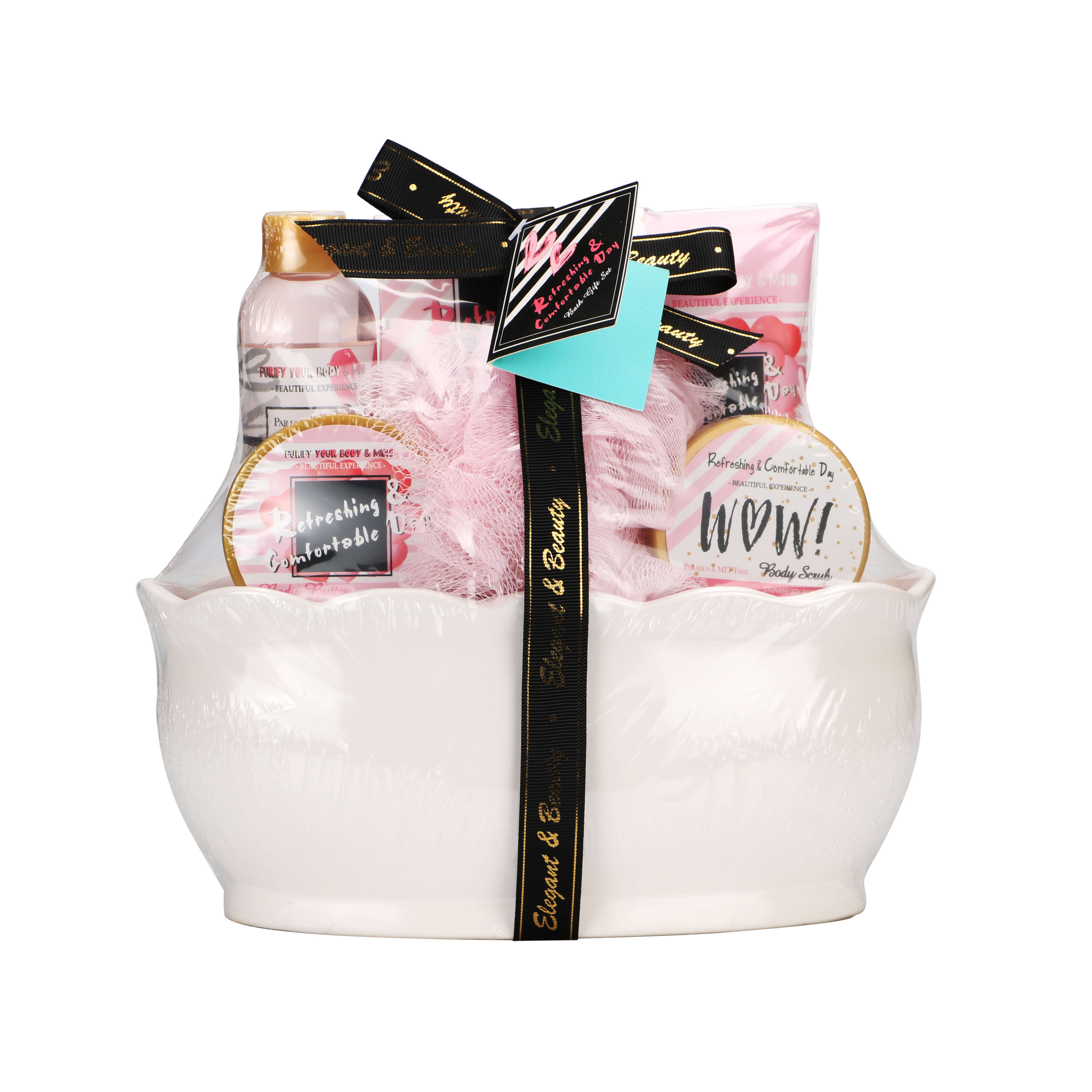 Bath Gift Basket ceramics Spa Gift Set Bath and Body Set with Bulgaria Rose Garden Fragrance Includes Bath Puff Body Butter
