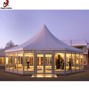 6 M Diameter Aluminium Frame Pvc Dak Polygon Marquee Party Bruiloft Functie Catering Tent Voor Outdoor Catering